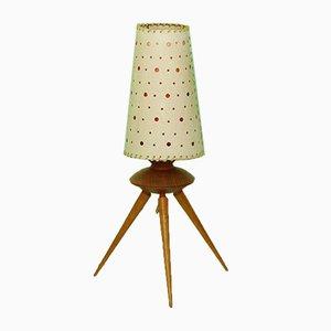 Lampada da tavolo Mid-Century tripode in plastica e teak, anni '50