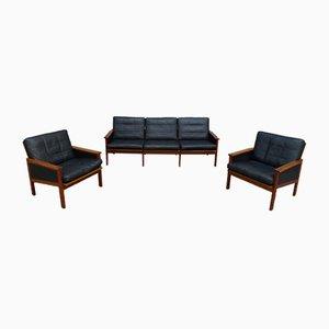 Dänisches Capella Lounge Set aus Teak & Leder von Illum Wikkelsoe für Niels Eilersen, 1950er
