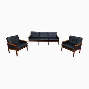 Danish Capella Teak & Leather Lounge Set by Illum Wikkelsoe for Niels Eilersen, 1950s