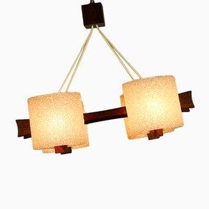 Danish Teak & Granules Pendant Lamp, 1960s