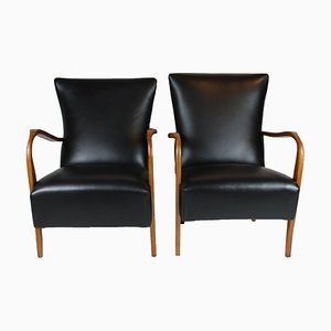 Black Leather Lounge Armchairs with Brass Studs, 1940s, Set of 2