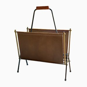 Vintage French Brass and Leather Magazine Rack, 1970s