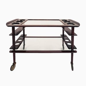 Italian Brass & Mahogany Bar Trolley by Cesare Lacca, 1950s