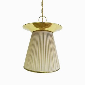 Brass & Fabric Double-Light Pendant by Paavo Tynell for Taito Oy, 1950s