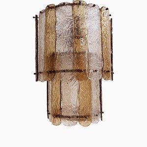 Italienische gestreifte Corteccia Hängelampe aus Glas von Toni Zuccheri für Venini, 1960er
