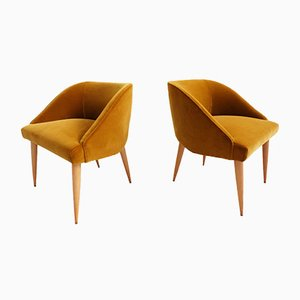 Small Italian Gold Velvet Armchairs by Gio Ponti for I.S.A Bergamo, 1950s, Set of 2