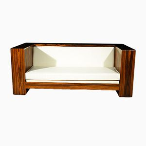 Vintage Art Deco French Rosewood & White Eco-Leather Bookcase Sofa, 1930s
