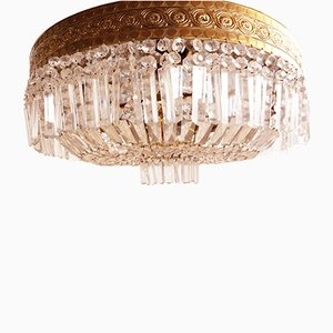 Large Italian Brass and Crystal Chandelier, 1950s
