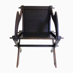 German Art and Crafts Oak Lounge Chairs, Set of 2