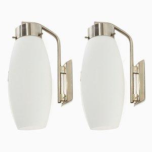 Italienische Mid-Century Wandlampen aus Opalglas von Stilnovo, 1960er, 2er Set