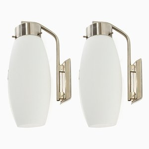 Mid-Century Italian Opaline Glass Sconces by Stilnovo, 1960s, Set of 2