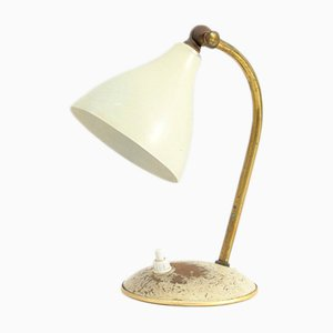 Mid-Century Brass & White Aluminium Table Lamp, 1940s