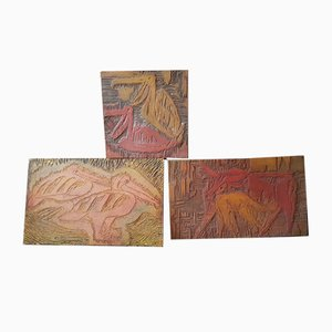 Carved Wooden Plaques, 1970s, Set of 3