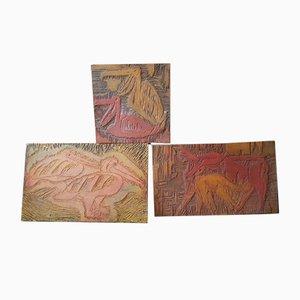 Targhe in legno intagliato, anni '70, set di 3