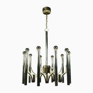 Lámpara de araña vintage de 10 brazos de Gaetano Sciolari, años 70