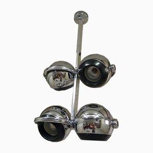 Lámpara de araña alemana era espacial de acero de Terence Conran para Erco, años 70
