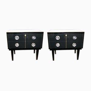 Italian Murano Glass & Brass Dressers, 1950s, Set of 2