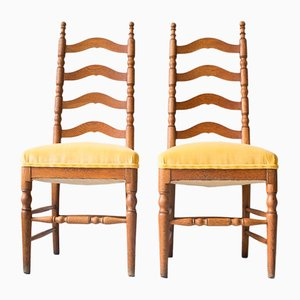 Antique Chestnut Chairs with Yellow Velvet Upholstery from Del Río, Set of 2