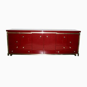 Italian Red Lacquered Sideboard, 1950s