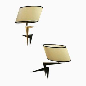 Französische Mid-Century Wandlampen von Lunel, 2er Set