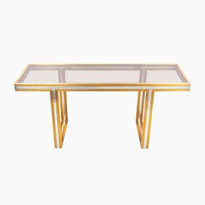 Italian Modern Brass & Steel Console Table by Romeo Rega, 1970s