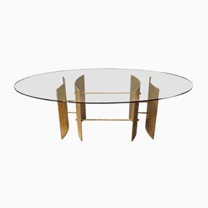 Brutalist Italian Bronze and Glass Dining Table, 1970s