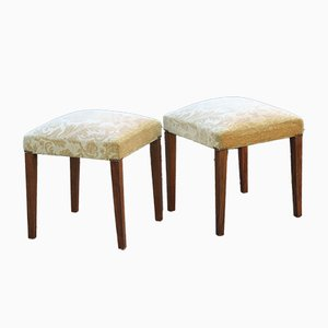 Bohemian Wood, Jute, and Walnut Stools, 1940s, Set of 2