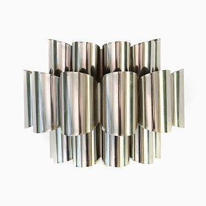 Lampada da parete in metallo cromato di Werner Schou per Coronell Elektro, Danimarca, anni '60