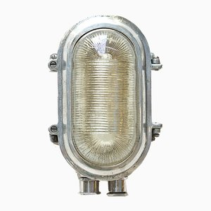 Industrial Aluminum and Striated Glass Portfolio Sconce, 1960s