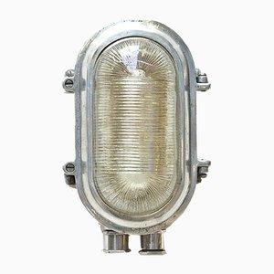 Industrielle Portfolio Wandleuchte aus Aluminium & Streifenglas, 1960er