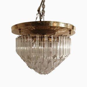 Italian Murano Crystal Prism Flushmount Lamp by Paolo Venini, 1970s