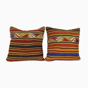 Türkische Kelim Kissenbezüge aus Wolle von Vintage Pillow Store Contemporary, 2er Set