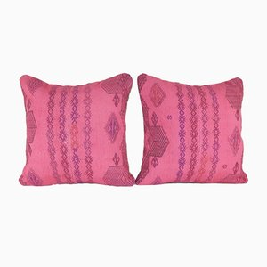 Fundas para almohadas hechas con kilim rosa tejido a mano de Vintage Pillow Store Contemporary. Juego de 2