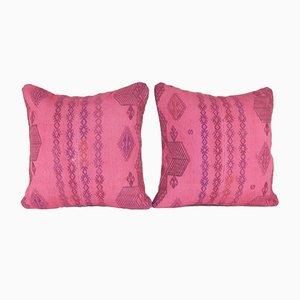 Handgewebte rosafarbene Kelim Kissenbezüge von Vintage Stehlampe Contemporary, 2er Set