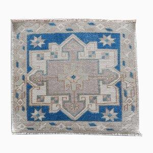 Kleiner blauer Vintage Teppich