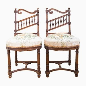 Antique French Wood Chairs, Set of 2