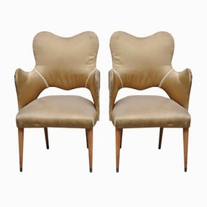 Italian Silk and Wood Armchairs, 1940s, Set of 2