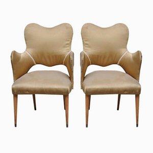 Italian Silk and Wood Armchairs, 1940s, Set of 2