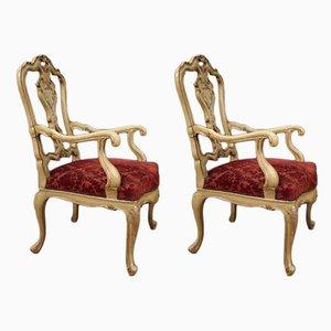 Italienische Mid-Century Sessel aus Stoff & Holz, 1960er, 2er Set