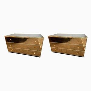 Italian Brass and Mirror Dressers by Renato Zevi, 1970s, Set of 2
