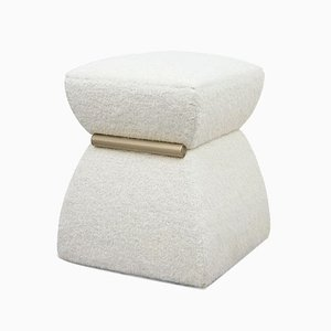 White Mohair and Brass Cusi Pouf from KABINET, 2019