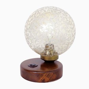Art Deco Style Frosted Glass & Wood Table Lamp, 1960s