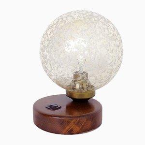 Lampe de Bureau Style Art Déco en Verre Givré et Bois, 1960s