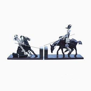 Versilberte Don Quixote Buchstützen, 1930er, 2er Set