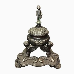Antique Italian Bronze Inkwell with Figurines