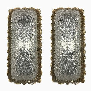 Mid-Century German Brass and Cut Glass Sconces, 1950s, Set of 2
