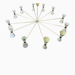 Mid-Century Italian Brass 24-Light Chandelier from Stilnovo, 1950s