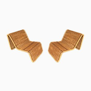 P3 Rattan Chaise Lounge by Tito Agnoli, 1960s, Set of 2