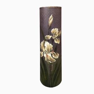 Vaso antico in vetro decorato a mano, Austria