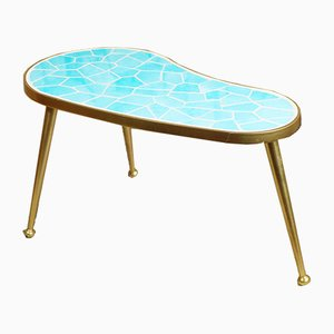 Mid-Century German Kidney-Shaped Brass and Earthenware Side Table, 1950s